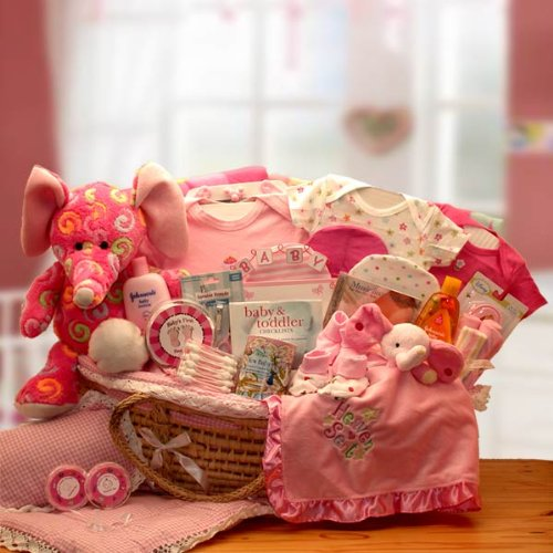 (Sweet Baby Girl Gift Basket in Moses Carrier -Pink Deluxe XL)