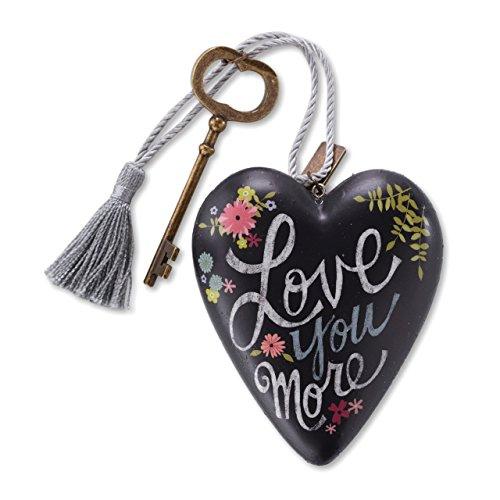 DEMDACO Love You More Chalkboard Floral 4 x 3 Inch Heart Shaped Resin Keepsake Decoration ()