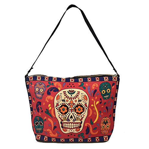 Sugar Womens Bag - SpiritStar Sugar Skull Purse: Day of the Dead Inspired Daily Travel Bag Made with 100% Washable Cotton (Sugar Skull)