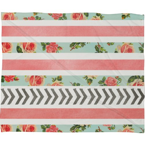 Deny Designs Allyson Johnson, Floral Stripes and Arrows, Fleece Throw Blanket, Large, 80