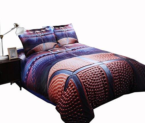 Lebather Blue 3D Basketball Background Print Cotton NBA Sport Bedding Duvet Cover Set with 2 Pillow Sham,1 Flat Sheet,1 Duvet Cover,Twin Size - Basketball Bedding