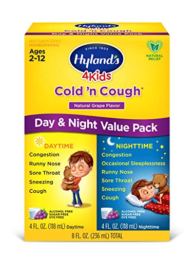 Kids Cold and Cough Day and Night Value Pack by Hyland's 4Kids, Grape Flavored Natural Common Cold Symptom Relief, 8 Fl Oz (Packaging May Vary) ()