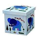Viyor shop Foldable Storage Ottoman,Animal Collapsible Toy Chest Square Storage Organizer Boxes Elephant