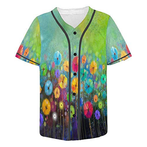 Abstract Floral Jersey - INTERESTPRINT Men's Athletic Trainning Short Sleeve Jersey Tops Abstract Floral Watercolor Painting XL