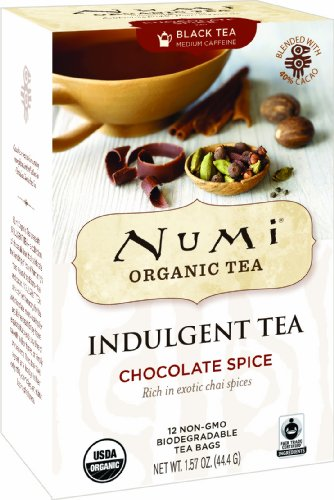 Numi Organic Tea Chocolate Spice, 12 Count Box of Tea Bags (Pack of 3) Black Tea (Packaging May Vary)