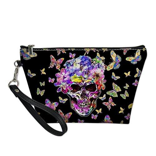(HUGS IDEA Sugar Skull Handle Makeup Storage Bag for Travel PU Leather Waterproof Cosmetic)