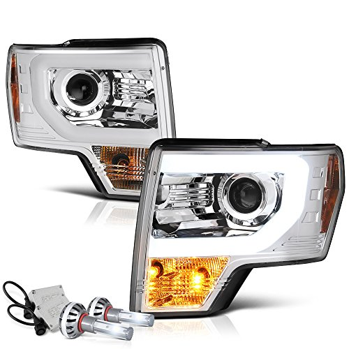 VIPMOTOZ OLED Neon Tube Chrome Projector Headlight Lamp Assembly For 2009-2014 Ford F-150 Pickup Truck Halogen Model - Built-In CSP LED Low Beam, Driver & Passenger Side