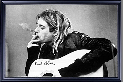 Art Wood Series Acoustic Guitar - FRAMED Kurt Cobain Smoking 24x36 Poster Dry Mounted in Executive Series Black Wood Frame With Beaded Lip - Crafted in USA