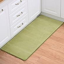 WYD Coral Fleece Non Slip Floor Door Mats, Hall Rugs Kitchen Bathroom Entrance Carpet (20'' X 31'', Dark Green)