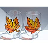 Orange Maple Leaf Hand Painted Stemless Wine Glasses (Set of 2) Fall Home Décor