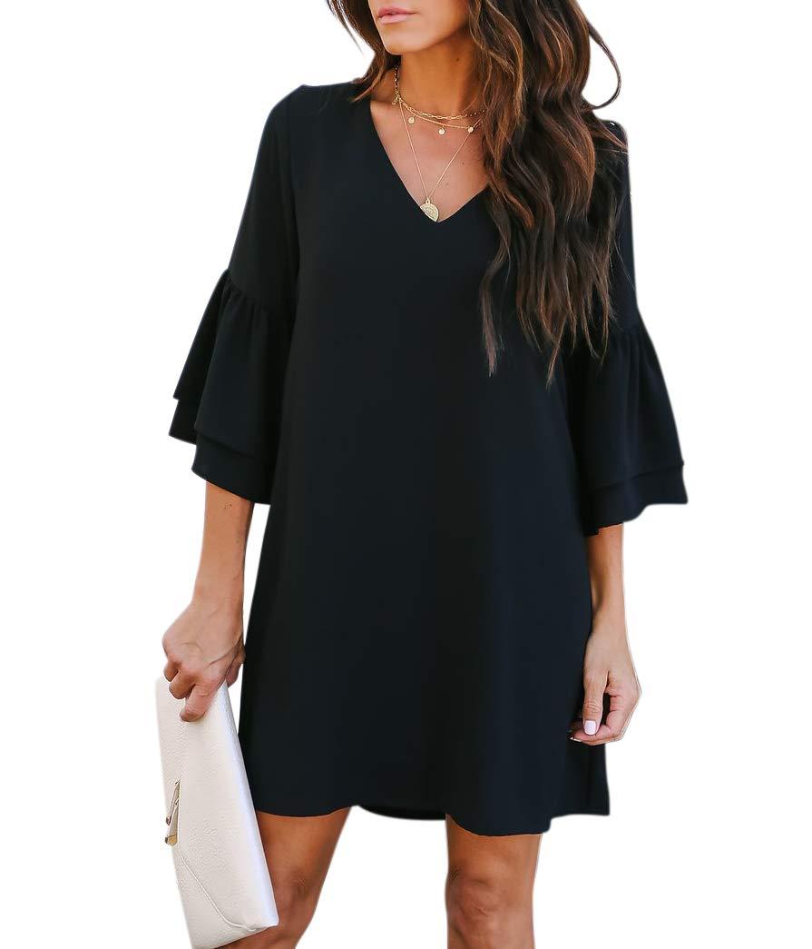 BELONGSCI Women's Dress Sweet & Cute V-Neck Bell Sleeve Shift Dress Mini Dress Black