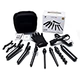 PARWIN PRO Curling Wand Set Black Diamond Tourmaline Ceramic 7 Interchangeable Barrels 7 In 1 Curling Iron Set with Heat Resistant Glove and Travel Bag
