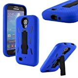 Boho Tronics TM Protective Body Armor Case Durable Cover Skin with Kickstand - Compatible With Samsung Galaxy S4 SIV S IV i9500 - Blue & Black