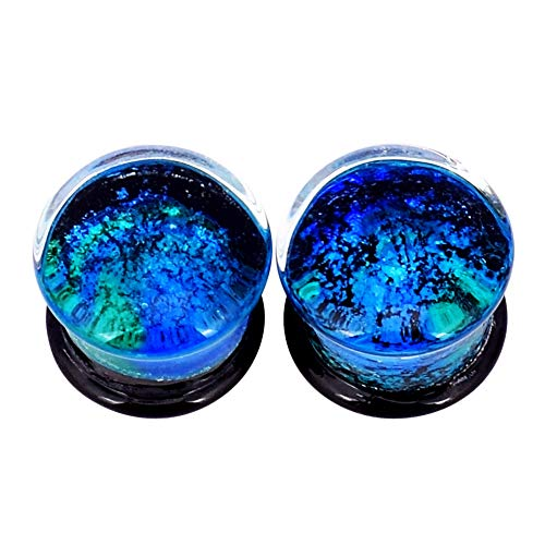Alphapierce Jellyfish Starry Sky Ear Tunnels Double Flared Ear Plugs Tunnels Size 0g-5/8