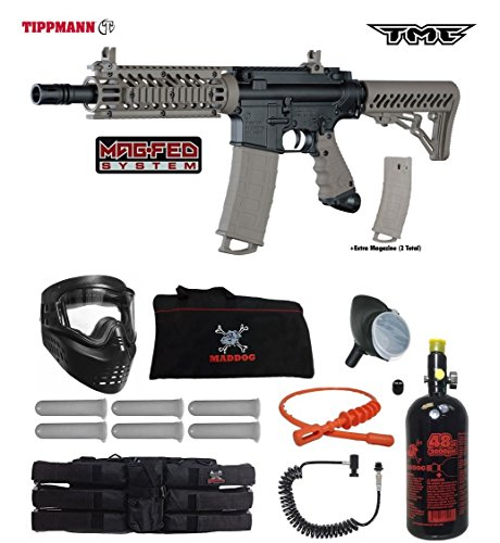 Tippmann TMC MAGFED Corporal HPA Paintball Gun Package - Black/Tan (Best Milsim Paintball Marker)