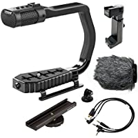 Sevenoak MicRig Universal Video Grip Handle with Integrated Stereo Microphone, Windscreen, & Bonus Shoe Extender Bracket for DSLR Cameras, iPhone/Android Smartphones & GoPro HERO3, HERO3+ & HERO4