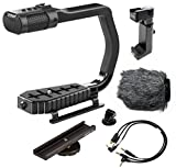 Sevenoak MicRig Universal Video Grip Handle with Integrated Stereo Microphone - Windscreen - & Bonus Shoe Extender Bracket for DSLR Cameras - iPhone Android Smartphones & GoPro HERO3 - HERO3+ & HERO4