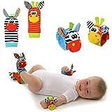 Nikgic 4pcs Calcetines de Bebe Puede Ser Utilizado como un Juguete de Bebé Sonajeros Incorporados Calcetines de Animales
