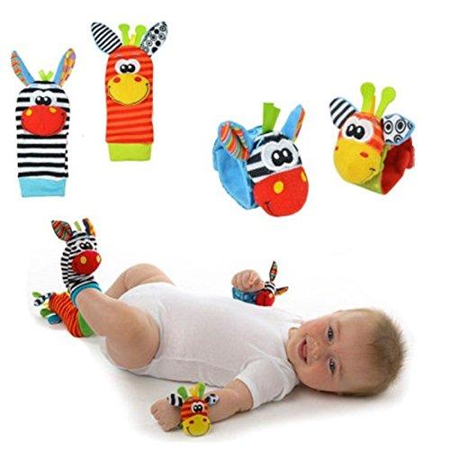 Oyfel Chaussette Poignet avec Jouet dEveil Hochet pour Bébé en Peluche Education Montessori pour 0-6 Mois 2pcs Poignet et 2pcs Chaussettes