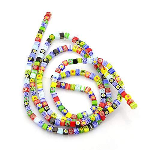 Kissitty 5 Strands Handmade Millefiori Lampwork Glass Cube Spacer Beads 4x4x4mm 16