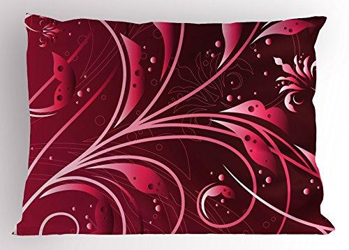 Maroon Pillow Sham by Lunarable, Modern Japanese Artwork Flower Abstraction Petals Dots Swirls Graphic Plant, Decorative Standard Size Printed Pillowcase, 26 X 20 Inches, Maroon Dark - Petals Swirl