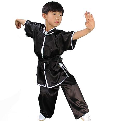 asdxz Niños Traje De Kung Fu De Unisex Manga Corta Tai Chi ...