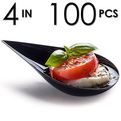 DLux Tear Drop Serving Cup, Mini Appetizer Plates with Recipe e-Book [Black Plastic Pack, Set of 100] Small Catering Supplies, Bowls, Appetizers Dish, Disposable Dishes, Asian Tasting Spoons