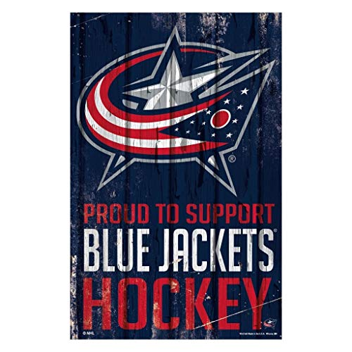 (WinCraft NHL Columbus Blue Jackets SignWood Proud to Support Design, Team Color, 11x17)