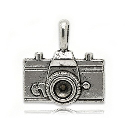 Housweety 20 Silver Tone Camera Charm Pendants 22x21mm (Camera Charm)