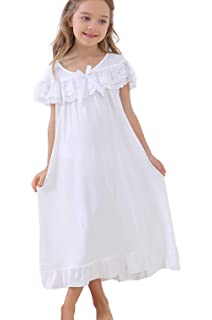 3-12 Years UQ Little GirlsCute Princess Lace Nightgowns /& Bowknot Sleepwear for Toddler
