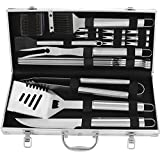 POLIGO 20pcs Stainless Steel BBQ Grill Tools Set - Complete Outdoor BBQ Grill Utensils Set, Heavy Duty Barbecue Accessories in Aluminum Carrying Case - Perfect Grilling Kit Gift Set for Men Women