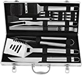POLIGO 20pcs Stainless Steel BBQ Grill Tools Set - Complete Outdoor BBQ Grill