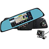 junsun 6.86 Dual Lens Car GPS DVR GPS Navigation Rearview Mirror Camera Full HD 1080P Video Dash Cam Recorder