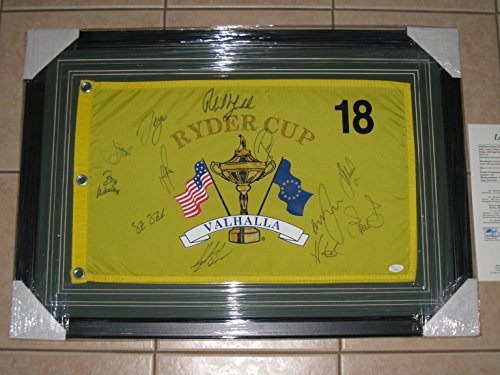 - Autographed Framed 2008 Ryder Cup Authentic Pin Flag - Mickelson, Sergio, Rose - JSA COA