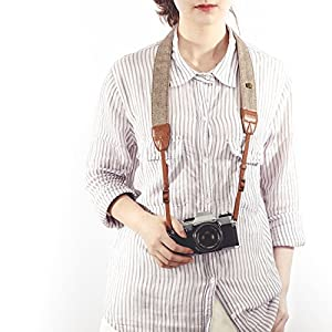 TARION Camera Shoulder Neck Strap Vintage Belt for All DSLR Camera Nikon Canon Sony Pentax Classic White and Brown Weave by TARION