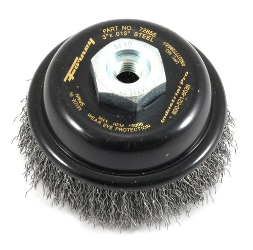 Forney 72855 Wire Cup Brush, Industrial Pro Coarse Crimped with M10-by-1.50/1.25 Multi Arbor, 3-Inch-by-.012-Inch