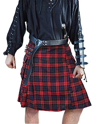 Mens Utility Kilt Pin Scottish Black & Irish Tartan Hybrid Royal Stewart Kilt Pin with Pockets