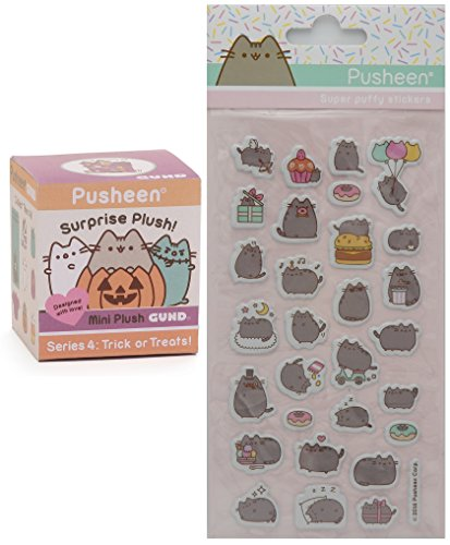 Gund Pusheen Blind Box Surprise Series #4 - Trick or Treats! Halloween Plush with Pusheen Super Puffy Stickers -