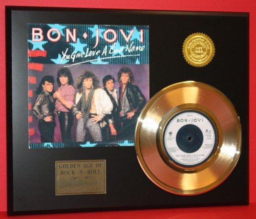 Gold Record Ltd Edition (Bon Jovi 24Kt 45 Gold Record & Reproduction Sleeve Art LTD Edition Display)