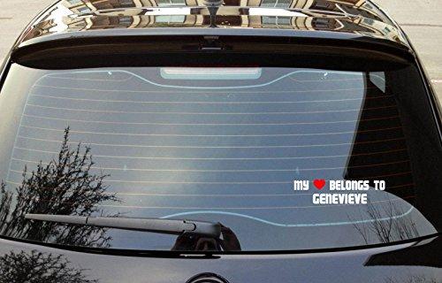 Genevieve Accessory - MY HEART BELONGS TO GENEVIEVE Boy Girl First Name Bumper Laptop Window Sticker