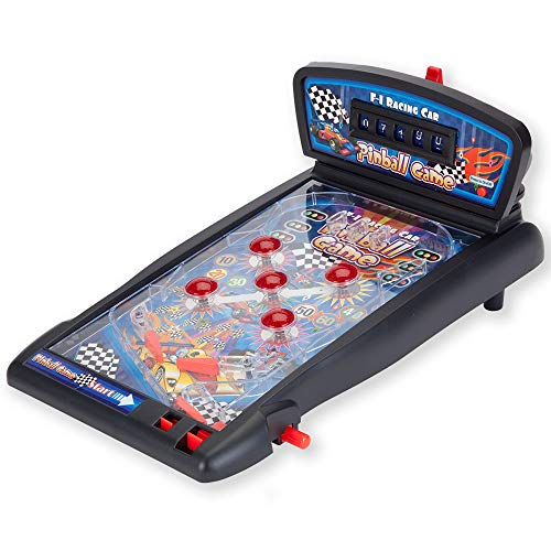 Bits and Pieces - F-1 Racing Electronic Tabletop Pinball Game - Pinball Tabletop Toy for Kids