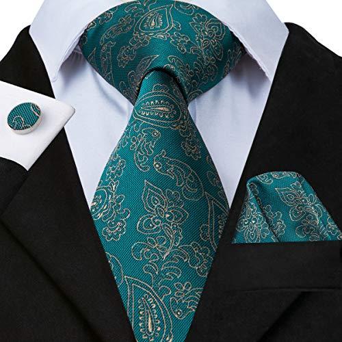 n Silk Tie for Men Wedding Handmade Paisley Tie Hanky Cufflinks Set ()