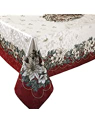 Charming Benson Mills Christmas Noel Printed Tablecloth, Size 60 Inch By 104 Inch