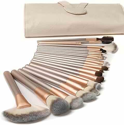Ammiy® 18 Pcs Makeup Brush Set Professional Wood Handle Premium Synthetic Kabuki Foundation Blending Blush Concealer Eye Face Liquid Powder Cream Cosmetics Lip Brush Tool Brushes Kit ( White Case Bag)