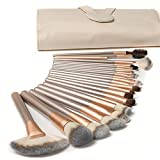 #9: Ammiy® 18 Pcs Makeup Brush Set Professional Wood Handle Premium Synthetic Kabuki Foundation Blending Blush Concealer Eye Face Liquid Powder Cream Cosmetics Lip Brush Tool Brushes Kit ( White Case Bag)