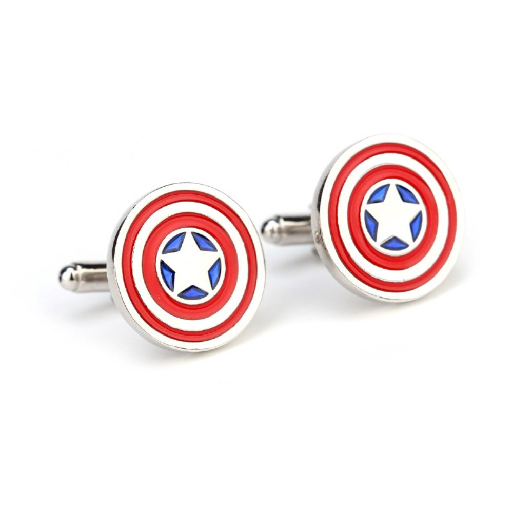 SS Captain America's Iconic Round Patriotic Shield Cufflinks for Men
