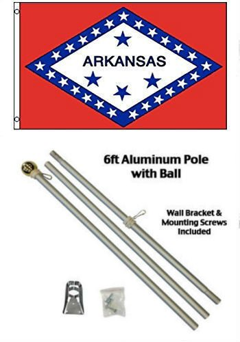 ALBATROS 3 ft x 5 ft State of Arkansas Flag Aluminum with Pole Kit Gold Ball Top for Home and Parades, Official Party, All Weather Indoors Outdoors