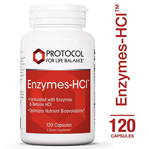 Protocol For Life Balance - Enzymes-HClTM - Promotes Digestive Health, Formulated with Enzymes & Betaine HCI to Optimize Nutrient Bioavailability & Digestive Function - 120 Capsules
