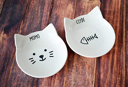 (Personalized Cat Bowl, Custom Cat Dish, Cat Gift, Personalized Cat Food Dish, Gift for Cats, Personalized Cat Gift - Ceramic Pet Dish)
