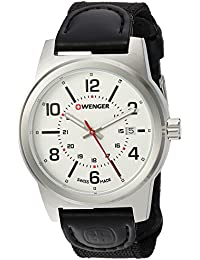 Men's 'Field Gear' Swiss Quartz Stainless Steel and Nylon Casual Watch, Color:Black (Model: 01.0441.162)